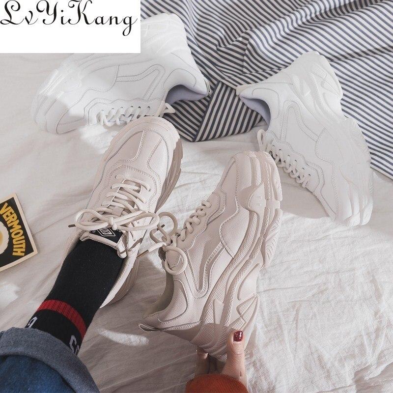 Женские кроссовки на шнуровке, Повседневные Удобные кроссовки на платформе, на толстой подошве, Вулканизированная подошва, Размеры 35-40, для осени и весны, 2019