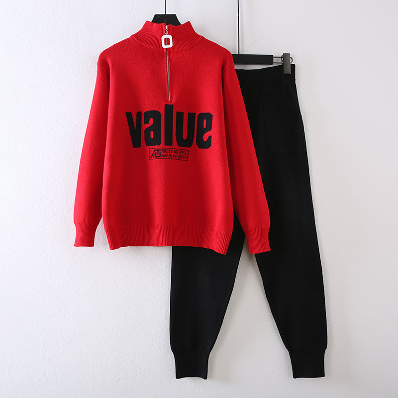 Casual WOMEN'S Suit 2019 New Style Online Celebrity Fashionable Fashion Knitted Slimming Hoodie Pants Sports Two-Piece Set
