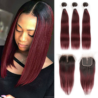 T1B/99J Ombre RedWine Bundles With Closure SOKU Brazilian Straight 3 Bundles With Closure Non Remy Human Hair Weave Extension
