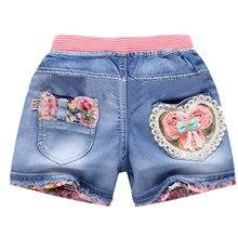 Nowe letnie dzieci krótka drelichowa spodenki dla dziewczynek moda dziewczyna krótka księżniczka dżinsy spodnie dla dzieci dziewczyny szorty kwiat dziewczyny odzież