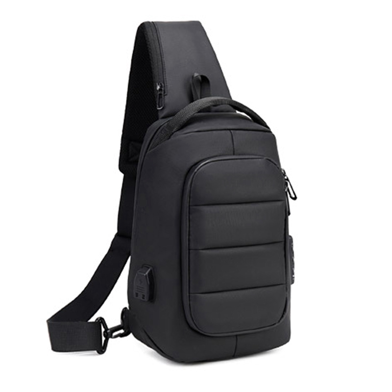 Men's Chest Bag USB Chaging Anti-Theft Bag With Lock School Shoulder Bag Diagonal Package Messenger Travel Bag