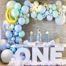 136 pçs tiffany balão azul festa de aniversário ballon guirlanda chuveiro do bebê baloon um ano 1st primeiro aniversário decoração da festa criança globos