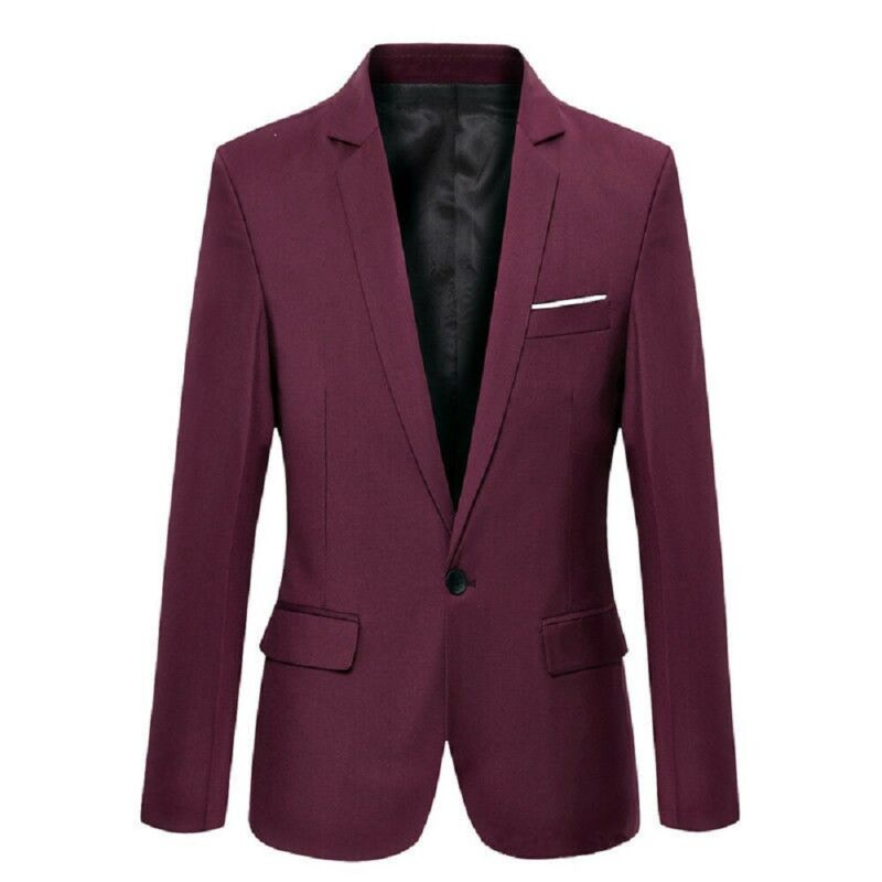 Mens Suit Coat Fashion Slim Formal Business One Button Blazer Jacket Long Sleeve Tuxedo Tops