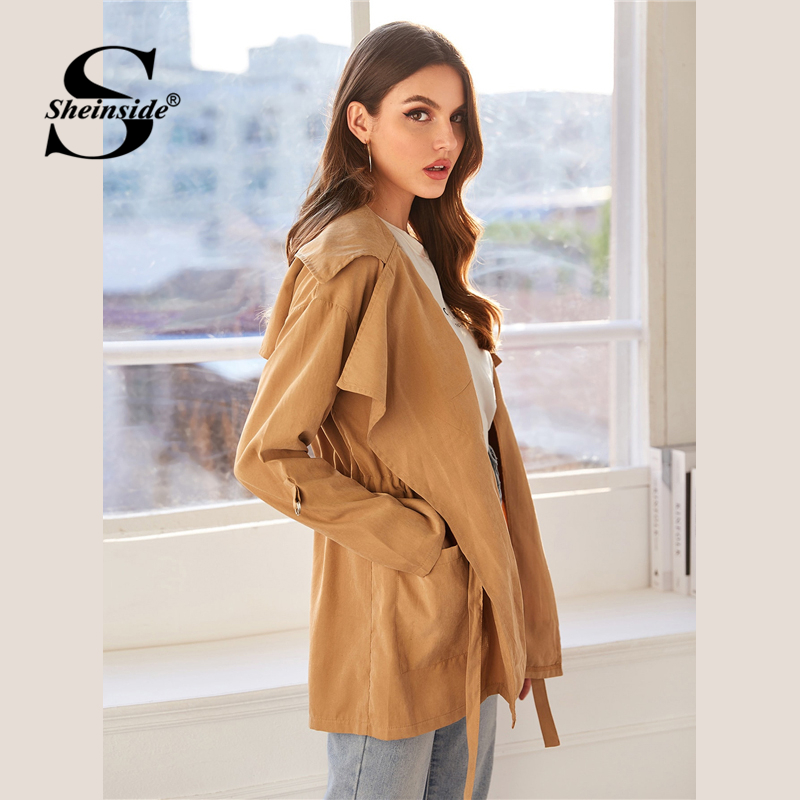 Sheinside Khaki Casual Drawstring Waist Trench Coat Women 2019 Autumn Pocket Detail Outerwear Ladies Waistline Long Coat SHEINSIDE Women Women's Sheinside Collection