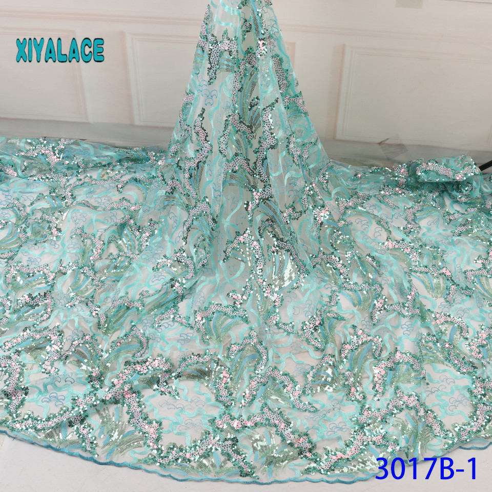 Latest African Lace Fabric With Sequins 2019 High Quality French Tulle Lace Swiss Lace Fabric For Woman Dresses YA3017B-1