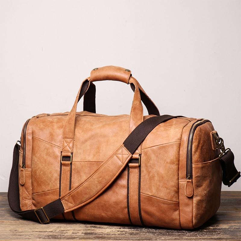 Men's Full Grain Leather Travel Bag Cow Leather Big Travel Duffel Bag Cowhide Weekender Bag Genuine Leather Luggage Bag