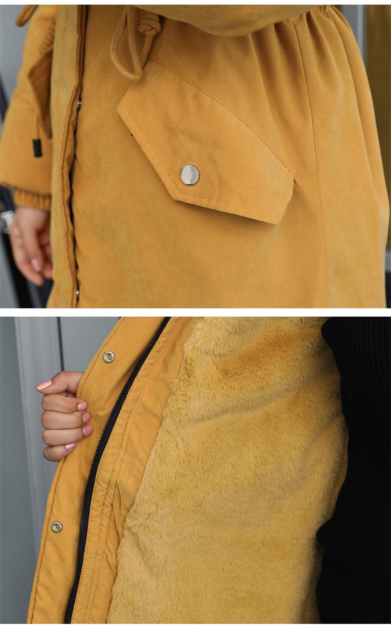 -30 градусов новый 2019 Для женщин зимняя куртка с капюшоном и меховой воротник Женская зимняя обувь Пальто Длинные парки с Меховая подкладка п... 34