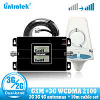 Lintratek Rusia 2G GSM 900 3G 2100 repetidor de señal de teléfono celular GSM WCDMA UMTS 2100 2 antena de señal G 3G 4G