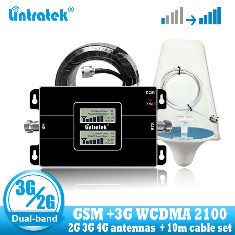 Lintratek rússia 2g gsm 900 3g 2100 telefone celular repetidor de sinal celular impulsionador gsm wcdma umts 2100 2g 3g 4g antena de sinal