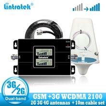 Lintratek rússia 2g gsm 900 3g 2100, repetidor de sinal de celular, impulsionador gsm wcdma umts 2100 2 antena do sinal 3g 4g