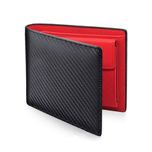New men's leather carbon fiber short wallet Folding simple coin bag Multi-card wallet holder