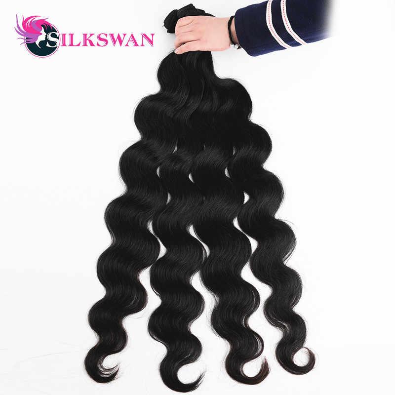 İnsan saç paketler silkswan 8 - 40 inç brezilyalı saç demetleri vücut dalga 1/3/4 adet demetleri doğal renk Remy saç ekleme