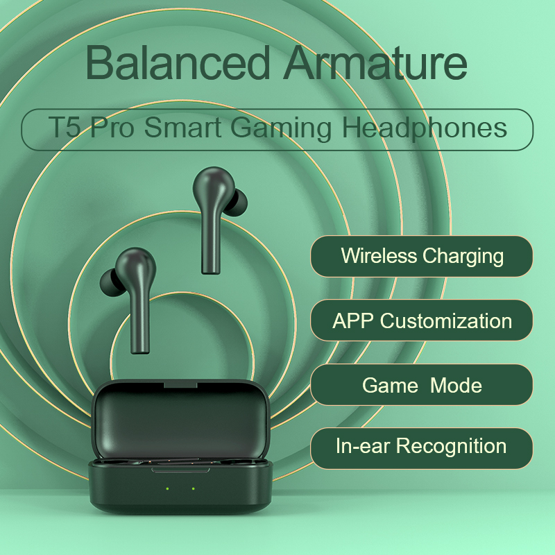 QCY T5 Pro Wireless charging Bluetooth 5.0  Earphones Sports Running Headphones With APP Customization From Youpin