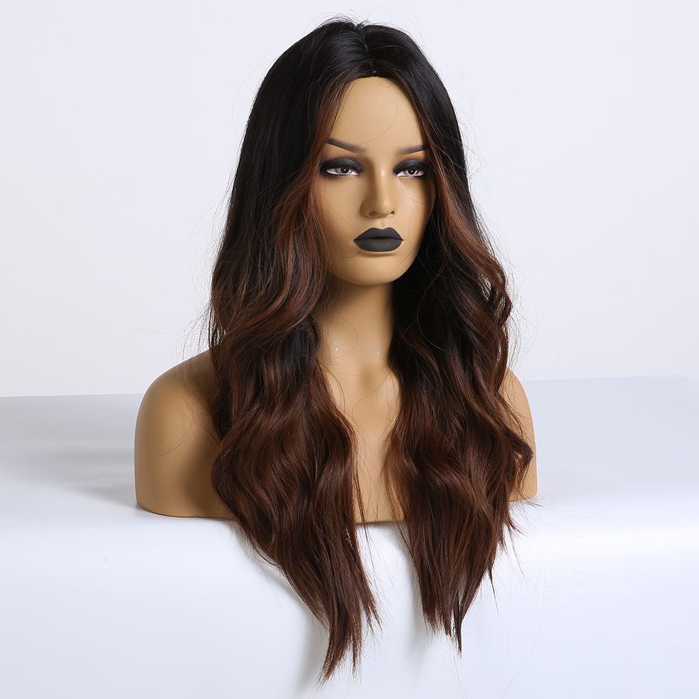 Image 2 - EASIHAIR Long Dark Brown Synthetic Wigs for Women Black to Brown Ombre Color Middle Part Wavy Cosplay Wigs Heat ResistantSynthetic None-Lace  Wigs   -