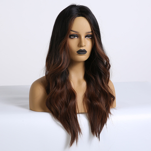Image 2 - EASIHAIR Long Dark Brown Synthetic Wigs for Women Black to Brown Ombre Color Middle Part Wavy Cosplay Wigs Heat Resistant