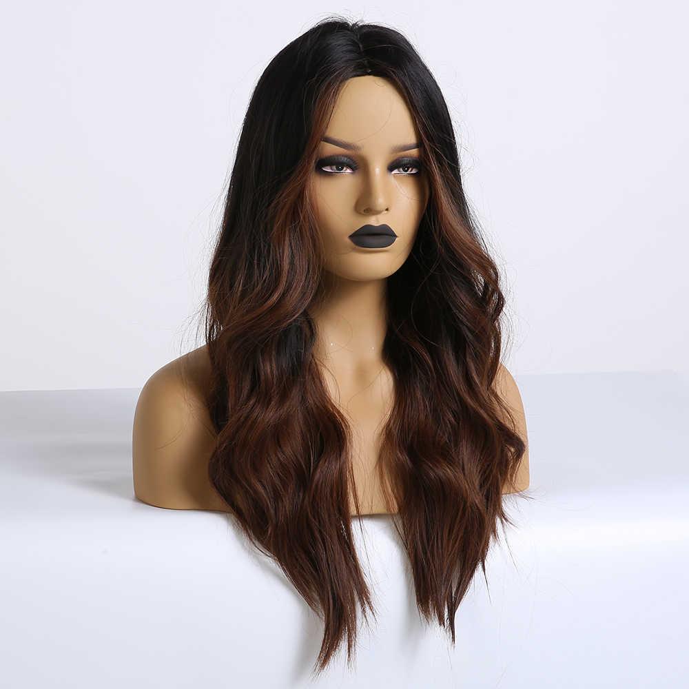 Easihair Panjang Coklat Tua Ombre Sintetis Wig untuk Wanita Bagian Tengah Kepadatan Tinggi Suhu Bergelombang Cosplay Wig Tahan Panas