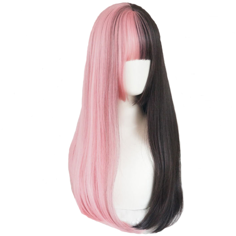 Lolita 60CM Long Wavy Black Mixed Pink Ombre Bangs Cute Synthetic Heat Resistant Cosplay Party Wig+Free Cap