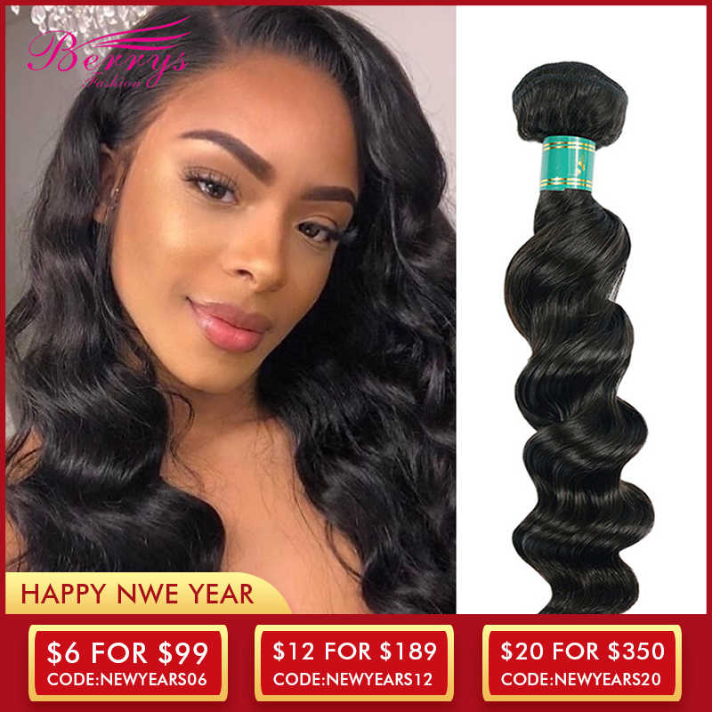 [Berrys Fashion] Peruvian virgin hair Weave Loose Wave Hair Extension 1 3 4pcs/Lot 100% Unprocessed Human Hair Bundles Hair Weft