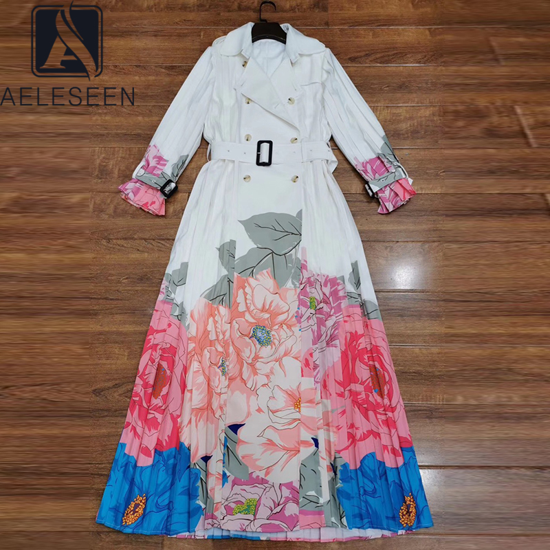 AELESEEN Runway Fashion Trench Dress 2020 Spring Autumn Women's Long Sleeve Designer Flower Print Long Party Pleated Dress