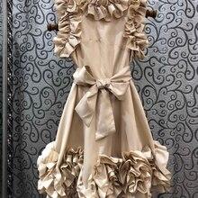 Осень и зима новые женские уши край слой по слою морщин группа на шнуровке пояс сплошной цвет платье 1014