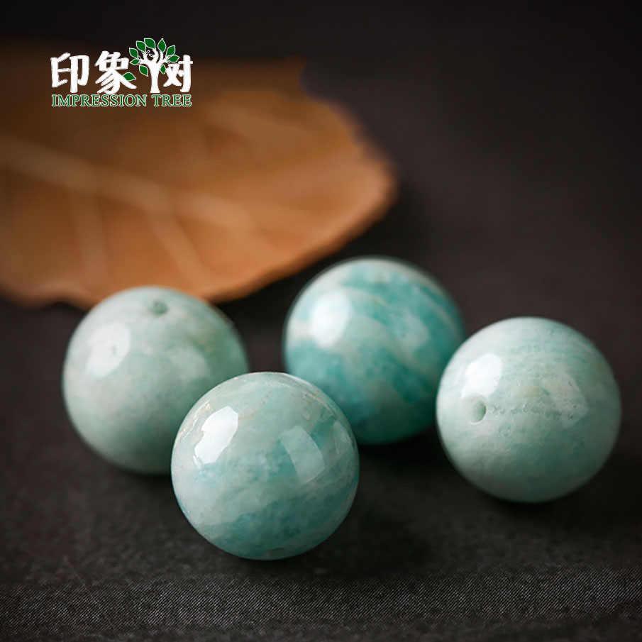 天然宝石アクアアマゾナイトクリスタルラウンドブルー石ビーズ 1 個 6/8/10 ミリメートルネックレスブレスレット材料 DIY ジュエリー素質 2965