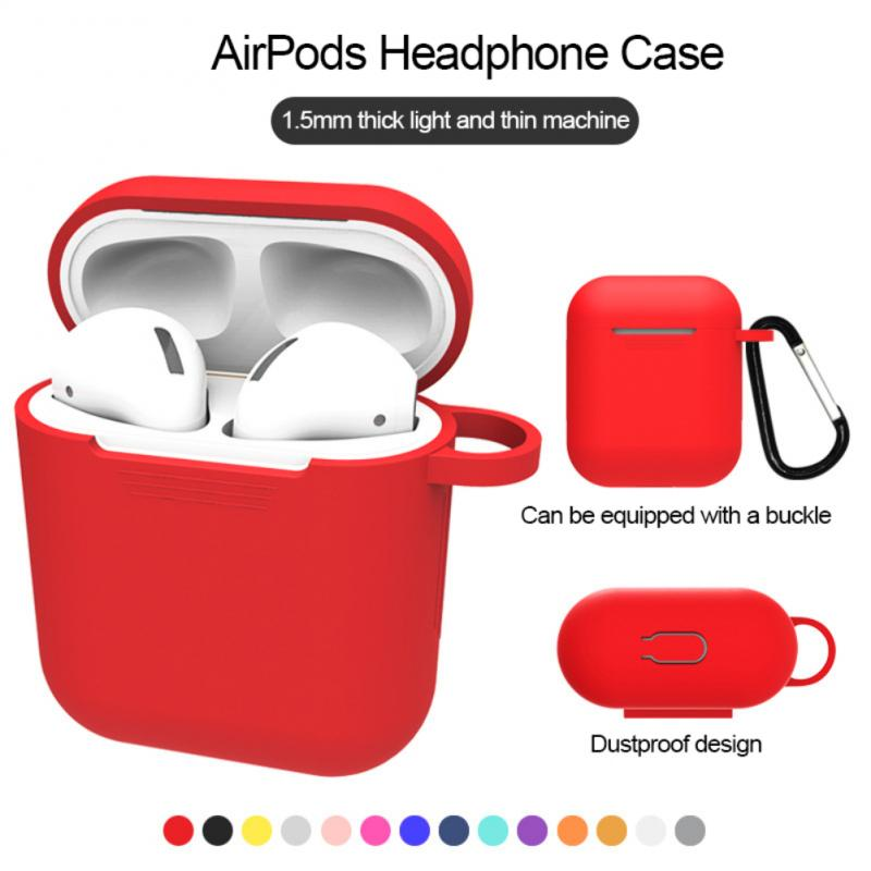 Silicone Earphone Case For Apple AirPods With Hanging Buckle Headset Full Protective Charging Box Cover Earphone Accessories