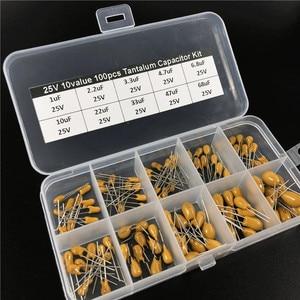Image 2 - 10 wartości 100 sztuk 25V 1uF 2.2uF 3.3uF 4.7uF 6.8uF 10uF 22uF 33uF 47uF 68uF kondensator tantalowy wybrane elementy ze schowkiem
