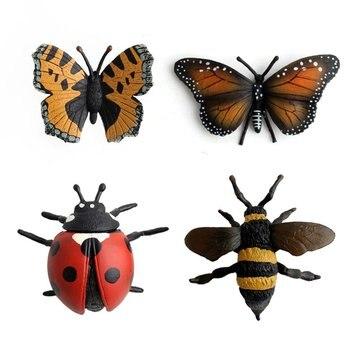 ¡8 Uds simulación de insecto Animal en miniatura figura libélula escarabajo mariquita saltamontes decoración figurita niños juguetes caliente!