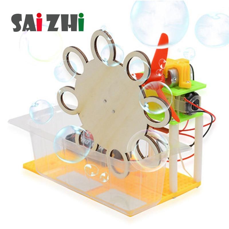 Saizhi Model Toy Diy Electric Bubble Machine Developing Intelligent STEM Physics Experiments Birthday Gift SZ3205