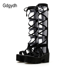 Gladiator-Boots Platform-Shoes Thick-Heels Women Cross-Tied Comfortable Gdgydh Summer