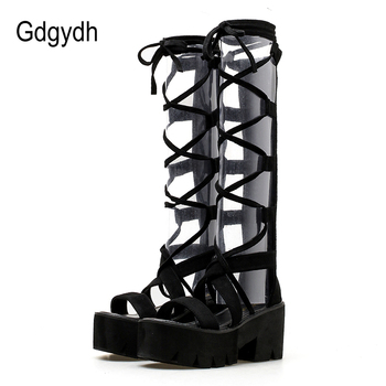 Gdgydh High Heels Gladiator Boots For Women Platform Shoes Thick Comfortable Cross-tied Back Ziller Summer