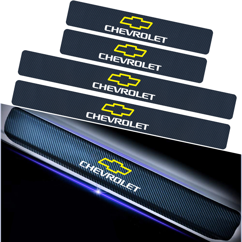 4PCS Car Door Sill Pedal Carbon Fiber Sticker For Chevrolet Cruze Aveo Captiva Lacetti Niva Orlando Epica Camaro Spark Threshold