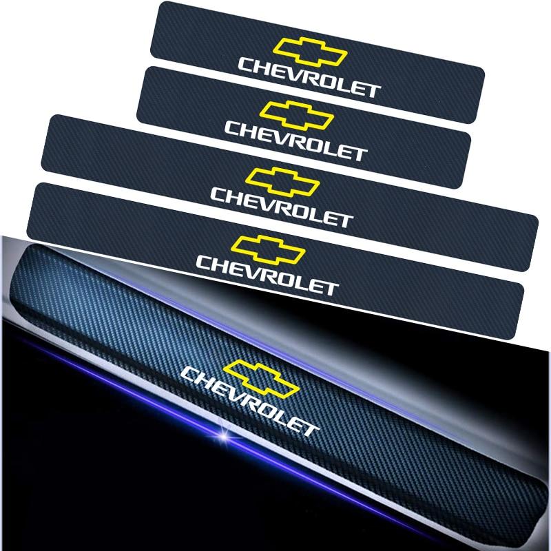 4PCS Car Door Sill Pedal Carbon Fiber Sticker For Chevrolet Cruze Aveo Captiva Lacetti Niva Orlando Epica Camaro Spark Threshold