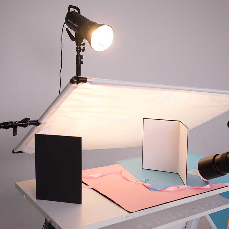 58*42cm Cámara accesorio de fotografía plegable cartulina blanco negro reflector plateado absorber luz gruesa papel reflectante