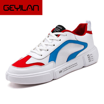 New  Spring  Luxury  brand  men shoes shiny leather casual shoes men's  high  top high  quality  men flats casual shoes Lace-up
