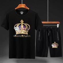 2021 Men Clothing Sportswear Crown Rhinestones Suits Fitness Short Mens Track Suit Set 2 Pieces Casual Jogger Sets Plus Size 7XL