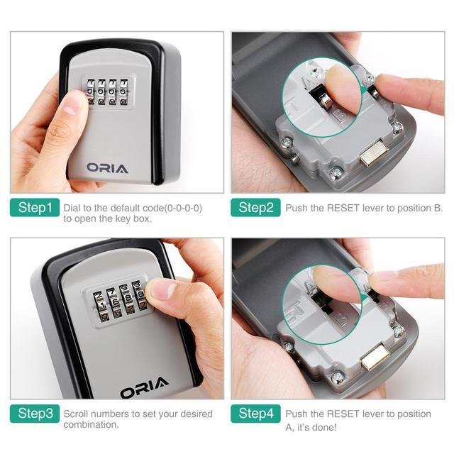 ORIA Password Key Box Outdoor Key Safe Lock Box Decoration Key Code Box Key Storage Lock Box Wall Mounted Password Box 5
