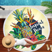 Simanfei Round Beach Towel Pineapple Microfiber Tassel Yoga Mat Carpet Soft Printing Shawl Blanket Decorative