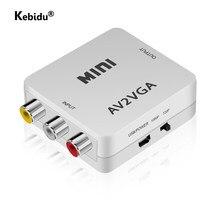 1080p rca av ao conversor de vídeo vga mini av2vga/cvbs + conversor de vídeo de áudio com 3.5mm de áudio para pc hdtv conversor