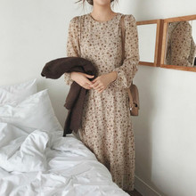 Korean Women Autumn Long Floral Chiffon Dress Long Sleeve Zipper Vestido with Belt Vintage