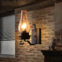 wall lamp Loft retro industrial iron balcony North American and European bedroom bedside lodging glass aisle bar