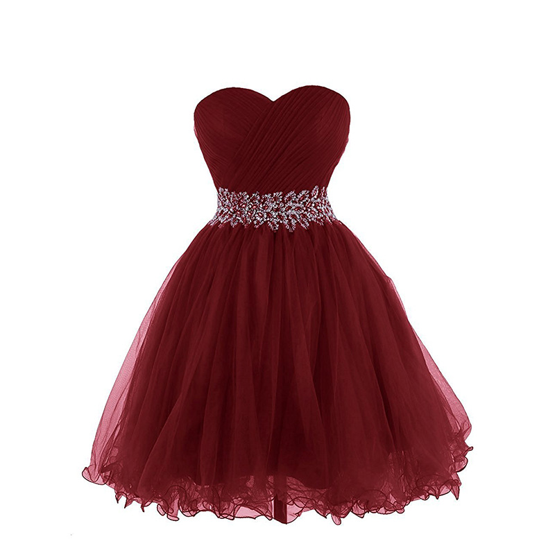 Burgundy   Cocktail     Dress   A-line Short Prom Gowns 2019 Organza Beaded Corset Back Formal Party   Dresses   Homecoming Strapless