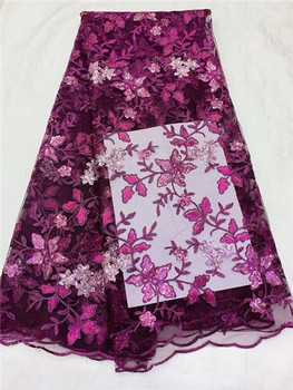 Elegant flower embroidery French tulle net lace fabric with sequins PDN531(5yards/lot) many color