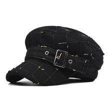 купить Fashionable pure cotton octagonal cap with holes, gold thread, latticed beret, 100 flat caps and retro army caps in autumn and w по цене 556.22 рублей