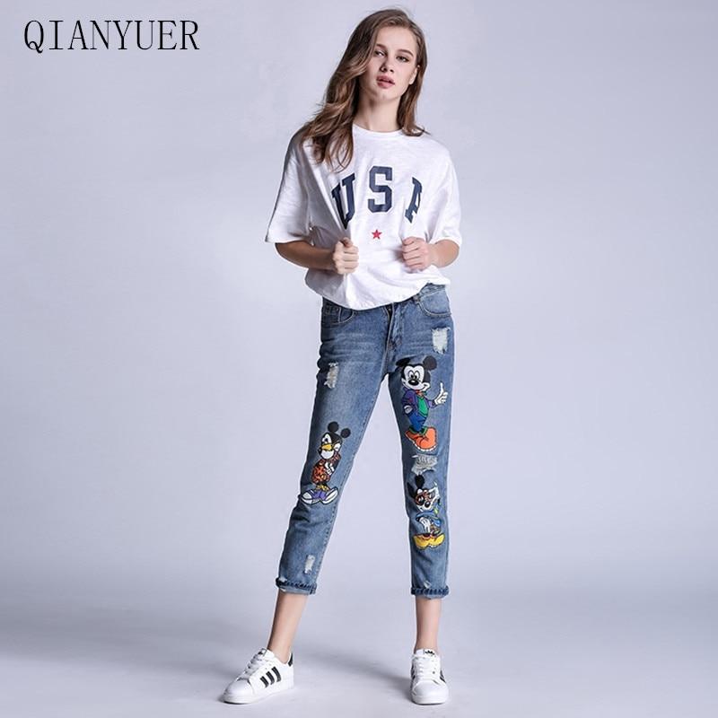 4XL Plus Size Mic-key Women Jeans Holes Patches Skinny Denim Pants Female Casual Jeans Women Denim Pants Women Jeans