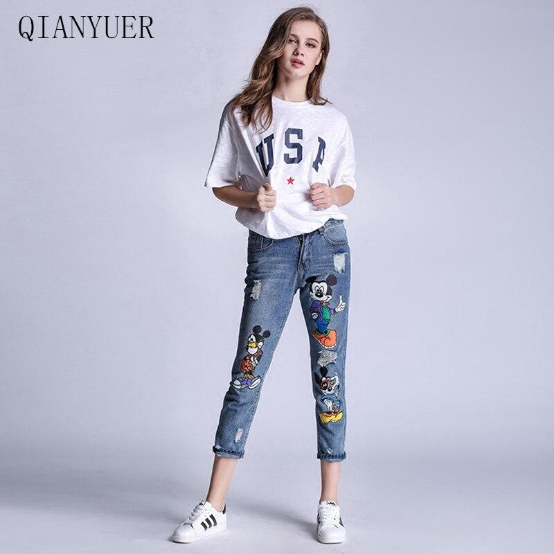 4XL Plus Size Mickey Women Jeans Holes Patches Skinny Denim Pants Female Casual Jeans Women Denim Pants Women Jeans