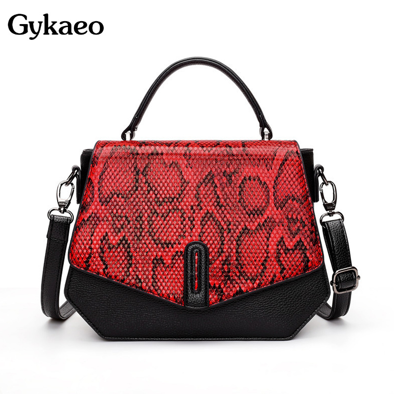 Gykaeo New Luxury Handbags Women Bags Designer Fashion Small Tote Bag Ladies Serpentine Pattern Shopping Crossbody Shoulder Bags