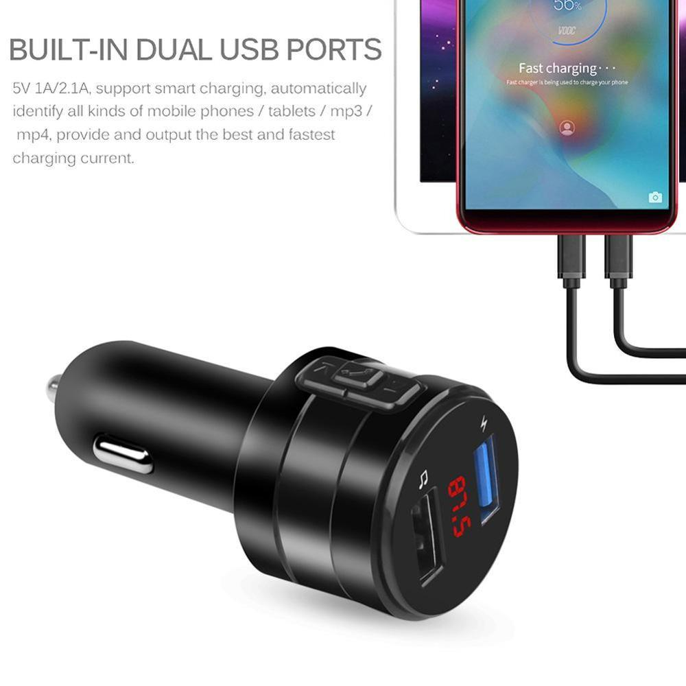 AUX 3.1A Dual USB <font><b>Charger</b></font> Power <font><b>Adapter</b></font> <font><b>Bluetooth</b></font> <font><b>FM</b></font> <font><b>Transmitter</b></font> <font><b>MP3</b></font> Player Handsfree <font><b>Car</b></font> Kit Support U disk For <font><b>Car</b></font> DVR Radio image
