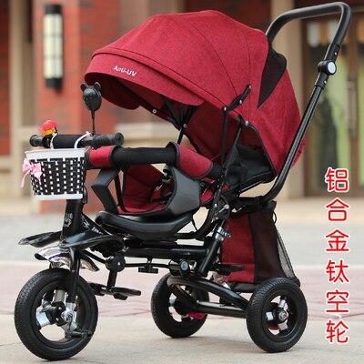 Siège pivotant bébé poussette 3 en 1 pliant Portable bébé Tricycle enfants vélo Absorption des chocs peut mentir Trike Trolley 6M ~ 5Y