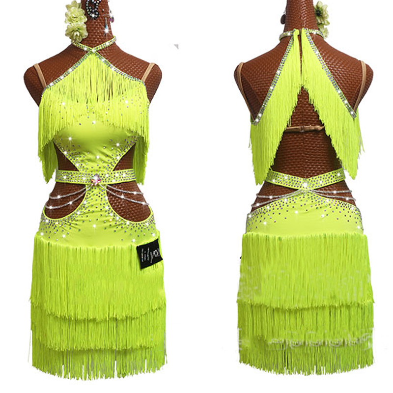 New Latin Dance Dress Women Fluorescent Yellow Dress Rhinestone Chain Performance Outfit Girls Tassel Skirt Salsa Dress BL2632